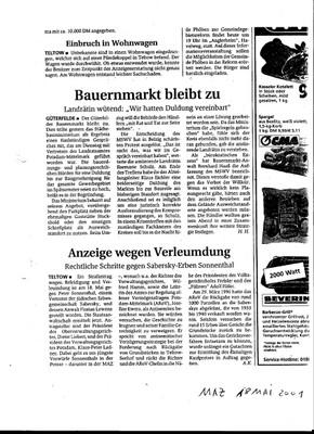Märkische Allgemeine vom 18.05.2001