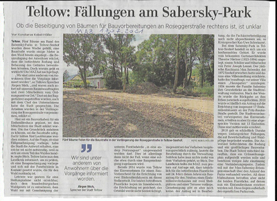 Rohdungsarbeiten im Sabersky Park in Teltow Seehof gesichtet MAZ 17.07.2021 .
