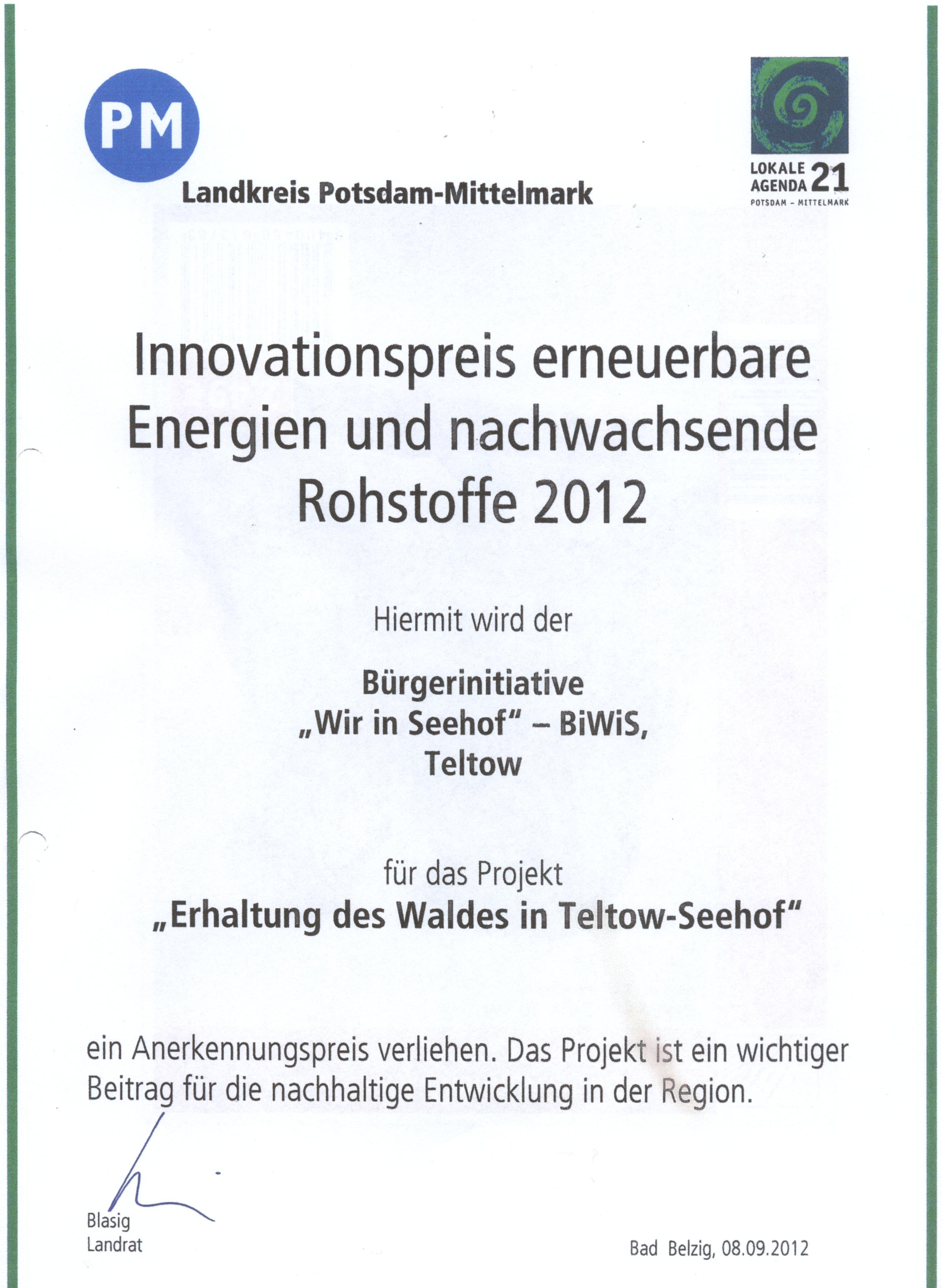 Innovationspreis des Landkreises Potsdam-Mittelmark an die Biwis für den Kampf um den Erhalt des Waldes in Teltow-Seehof, unterzeichnet vom Landrat Herr Blasig (SPD) Danke.