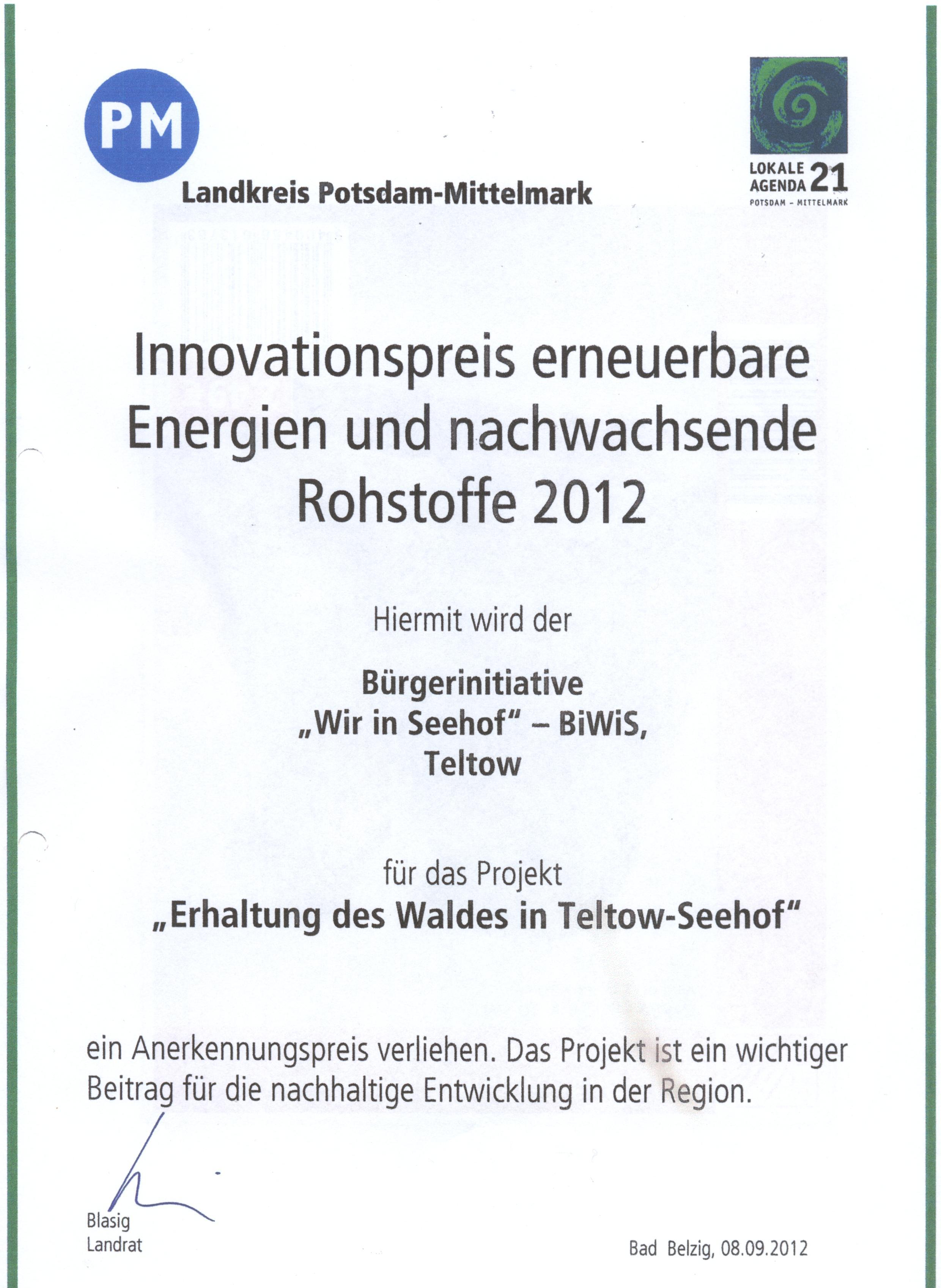 Innovationspreis des Landkreises Potsdam Mittelmark !