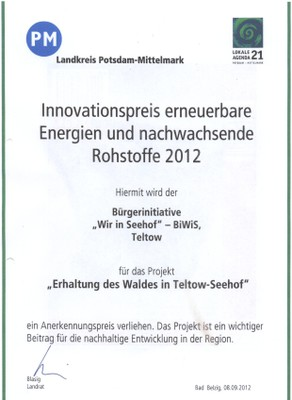 Innovationspreis des Landkreises Potsdam Mittelmark an die Biwis für den Kampf um den Erhalt des Waldes in Teltow Seehof , unterzeichnet vom Landrat Herr Blasig ( SPD).