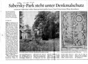Sabersky-Park steht unter Denkmalschutz