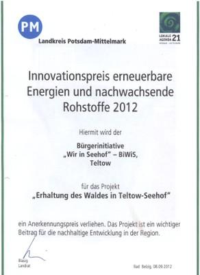 Innovationspreis des Landkreises Potsdam Mittelmark an die Biwis für den  Erhalt des Waldes in Teltow Seehof , unterzeichnet vom Landrat Herr Blasig ( SPD).