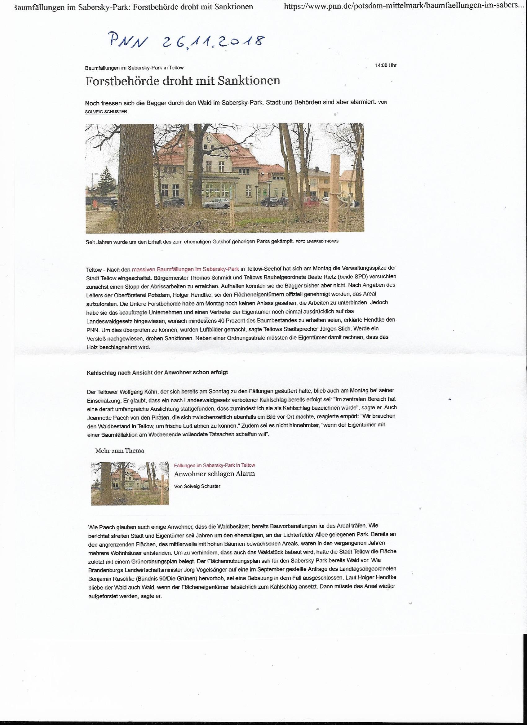 Teltow-Seehof vom 26.11.2018 !