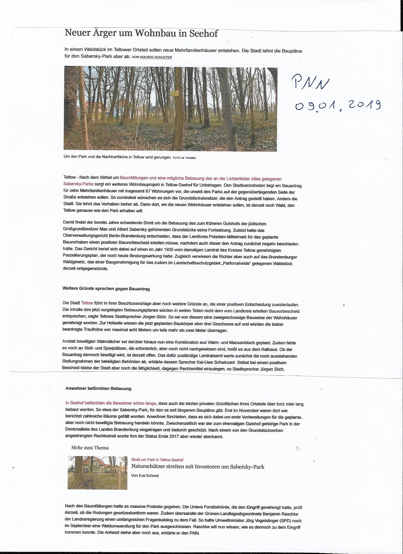 Teltow-Seehof PNN vom 02.01.2019 !